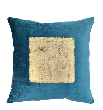 "Teal Velvet w/Gold Foil Pillow 20""x20"""