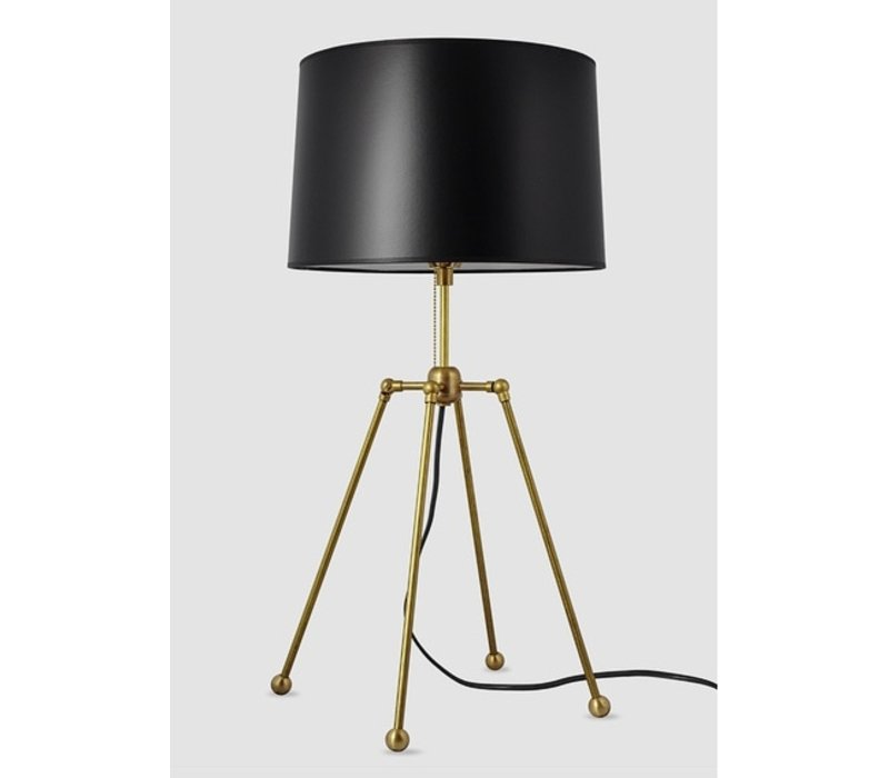 Brass w/Black Shade Table Lamp