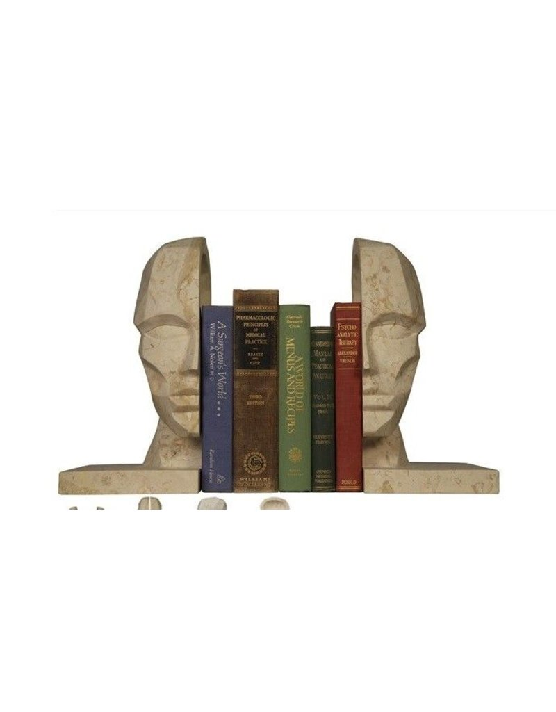Face Bookend, White Marble s/o 2