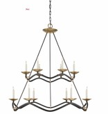 Choros 2 Tier Chandelier, Aged Iron