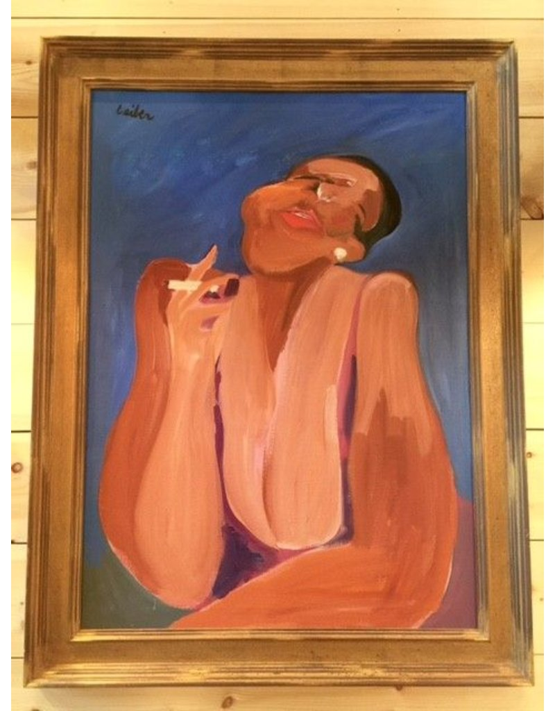 Gerson Leiber   Black Woman Smoking Painting *CS