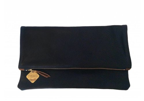 Foldover Leather Clutch, Black