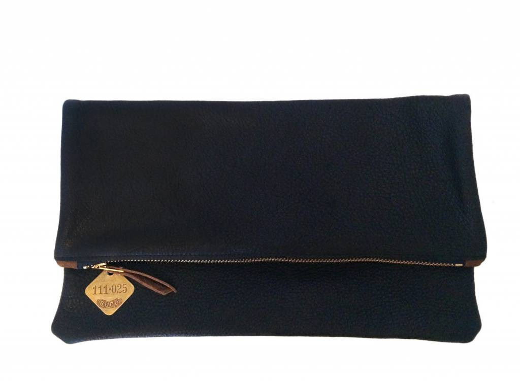 Foldover Clutch - Black Leather