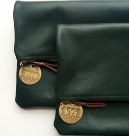 Foldover Clutch - Emerald Leather
