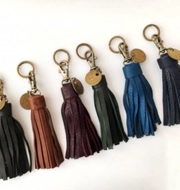 Cognac Leather Tassel Keychain