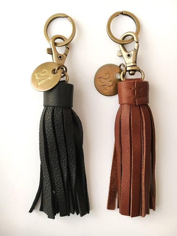 Champagne Leather Tassel Keychain