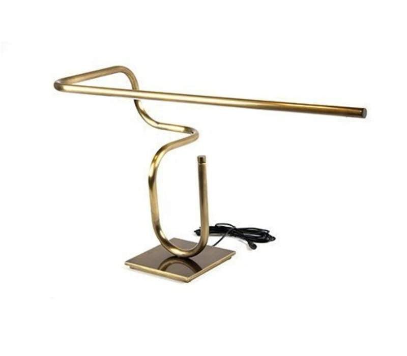 Tube Desk Lamp, Darkened Brass