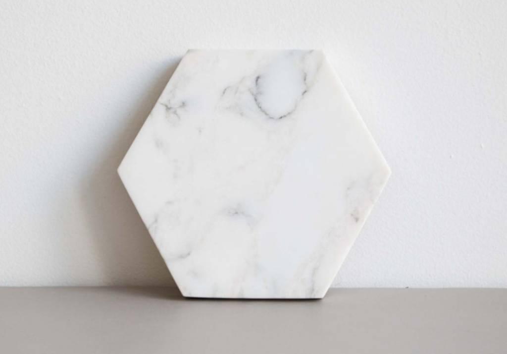 Marble Trivet-White Cararra-Hexagon
