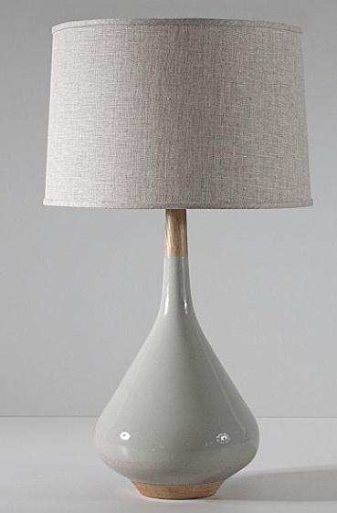 Miller in Pigeon Table Lamp- Oak, Blackened Brass, w/ Linen Shade