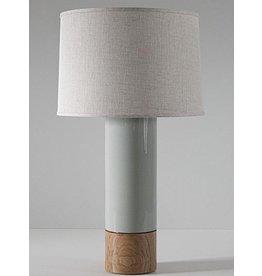 Tall Baxter Lamp, Pigeon, Oak, Blackened Brass, Natural Linen Shade