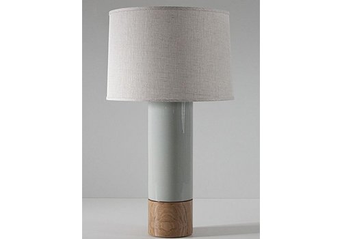 Tall Baxter Lamp, Pigeon, Oak, Blackened Brass, Natural Linen Shade