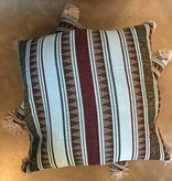 Lines w/ Tassel Pillow- Blue