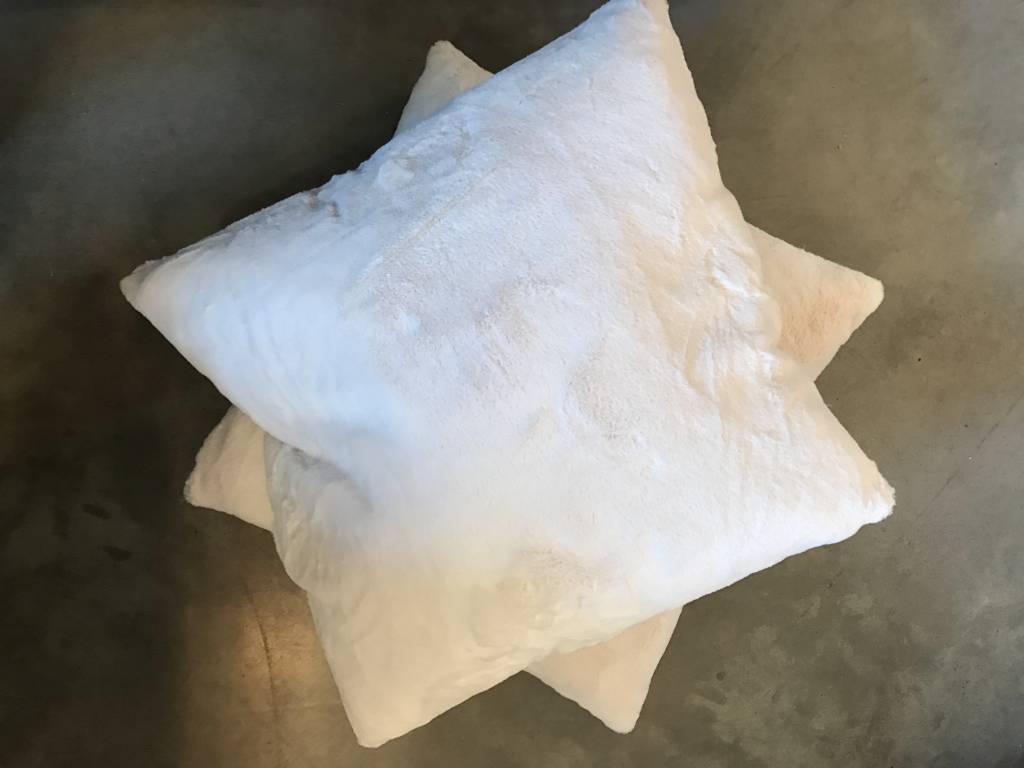 26 x 26 Fluffy Fur Pillow- White