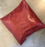 Streams Leather Pillow- Ruby