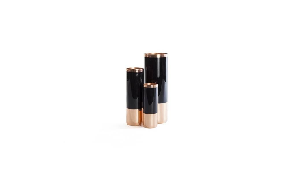 Brass/Enamel Vase Small - Black