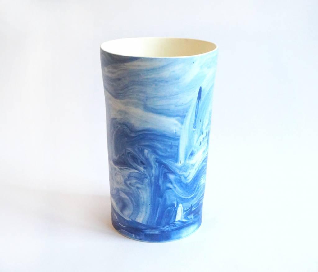 Marbled Blue Pottery Vase