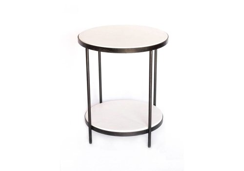 Double White Table 2 Tier