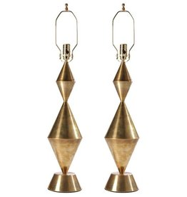 Conical Sculpture Brass Lamp