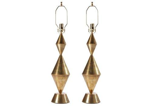Conical Sculpture Brass Lamp