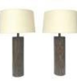 Brown Cerused Oak Table Lamp
