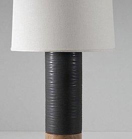 Tall Baxter Lamp: Canyon in Obsidian, Oak, Blackened Brass, Cream Linen Shade