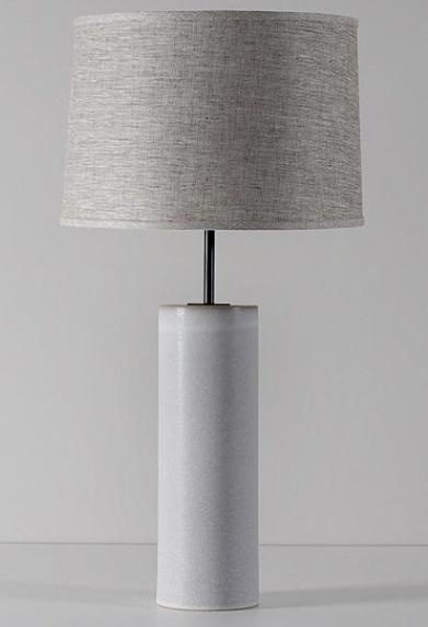 Hancock Lamp: White Quartz, Blackened Brass, Natural Linen Shade