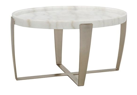 Ennio Coffee Table, Antique Silver, Metal & Stone