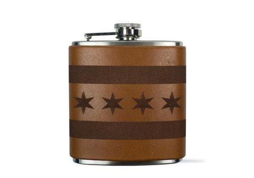 Chicago Flag Flask, Light Brown