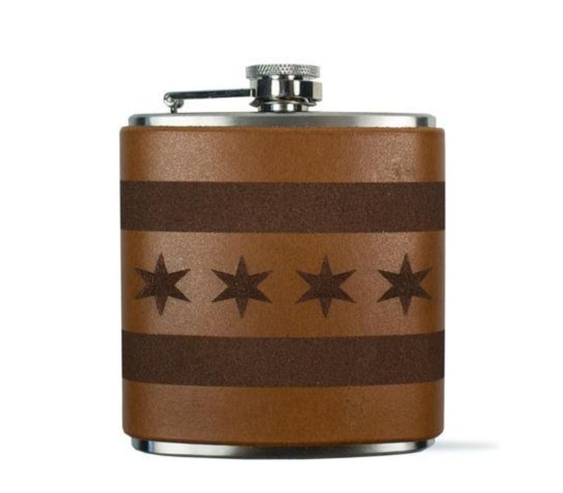 Chicago Flag Flask, Light Brown