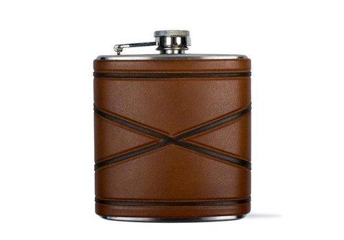 Crossed Borders Flask, Dark Brown