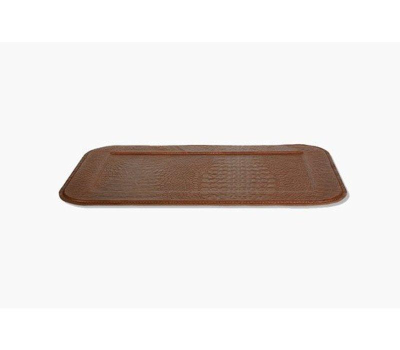 Slim Croco Serving Tray, Brown