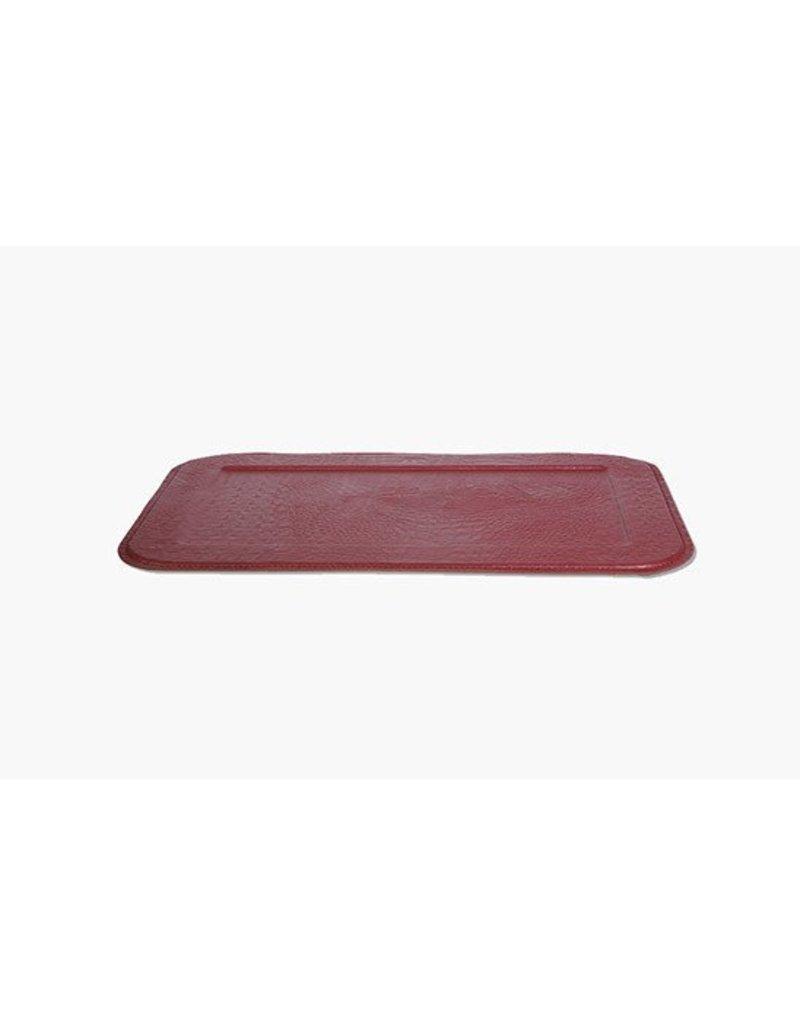 Slim Croco Serving Tray, Ruby Red