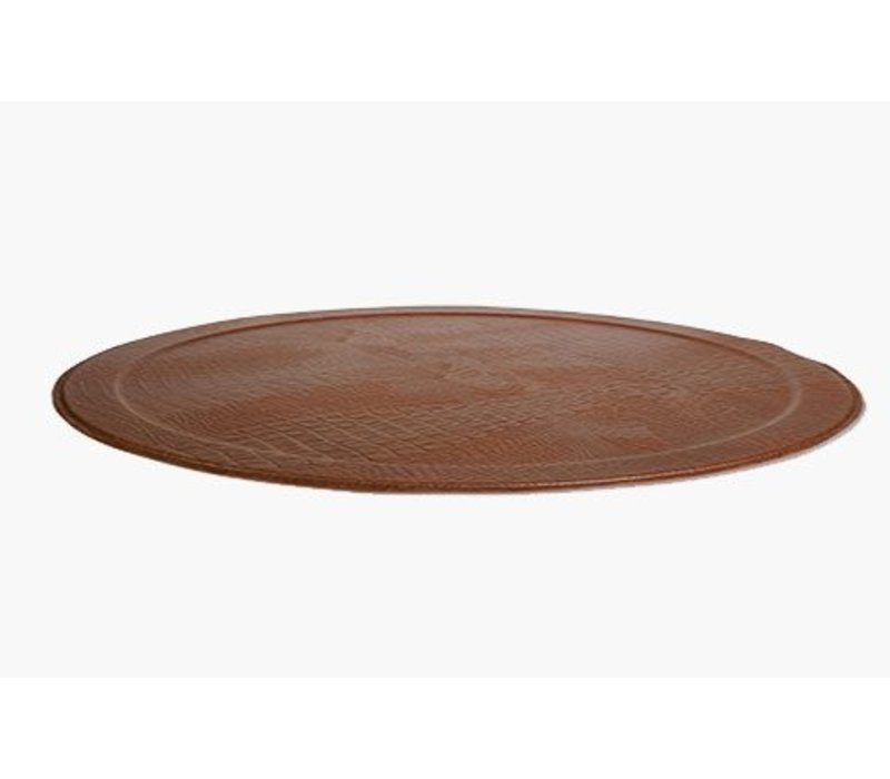 XL Round Tray CROCO, Brown