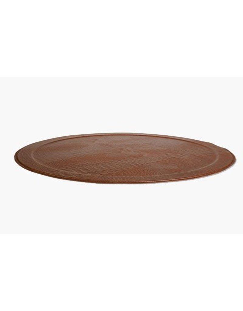 XL Round Tray CROCO, Brown