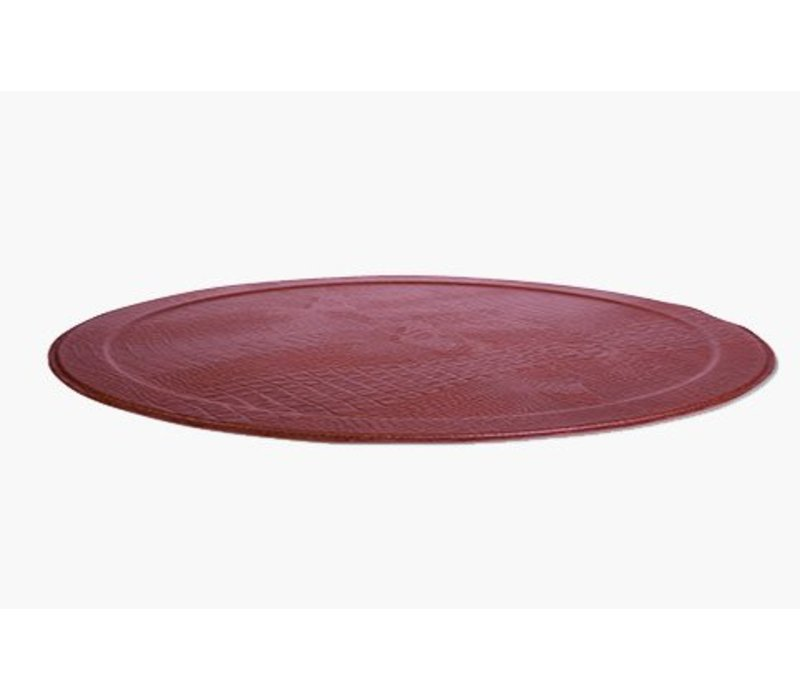 XL Round Tray CROCO, Ruby Red