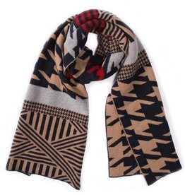 Green Thomas Houndstooth Camel/Navy Scarf - 8""