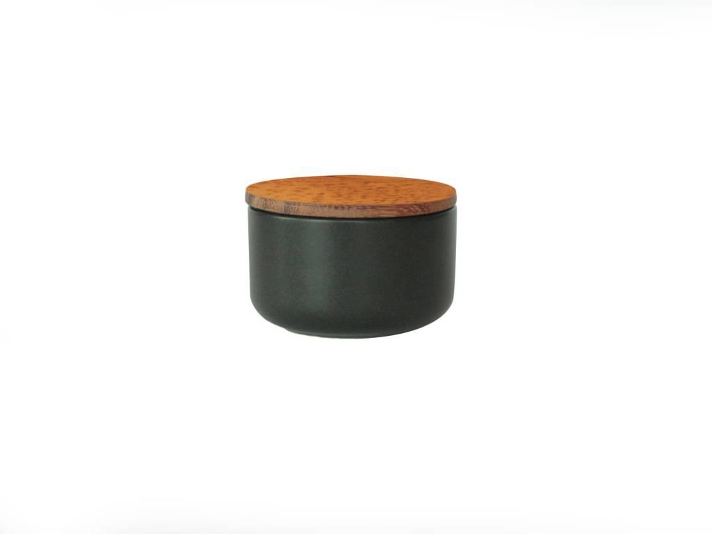 Stoneware Container w/ Acacia- Extra Small Black