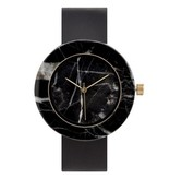 Analog Black Circle Marble Watch-Black Strap
