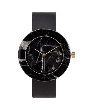 Analog Black Circle Marble Watch-Black Strap