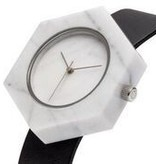 Analog White Hex Marble Watch - Black Strap