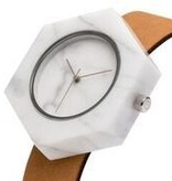 Analog White Hex Marble Watch - Tan Strap