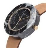 Analog Black Circle Marble Watch - Tan Strap