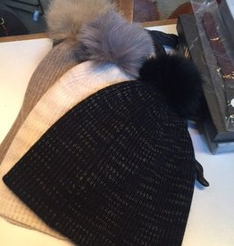 WW Fur Pom Rib Cashmere Beanie - Mocha/Natural