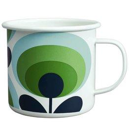 Flask 70s Flower Oval Green