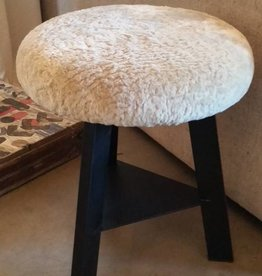 "18"" Black Steel & Sheerling Swivel Stools"