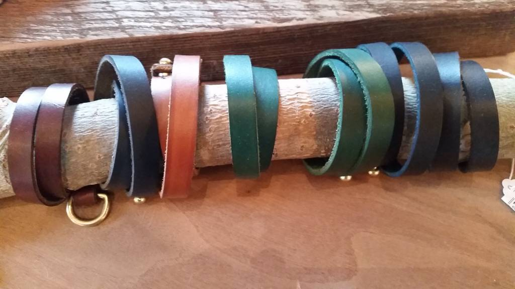 Leather/Lure Strip Bracelet-Green Narrow