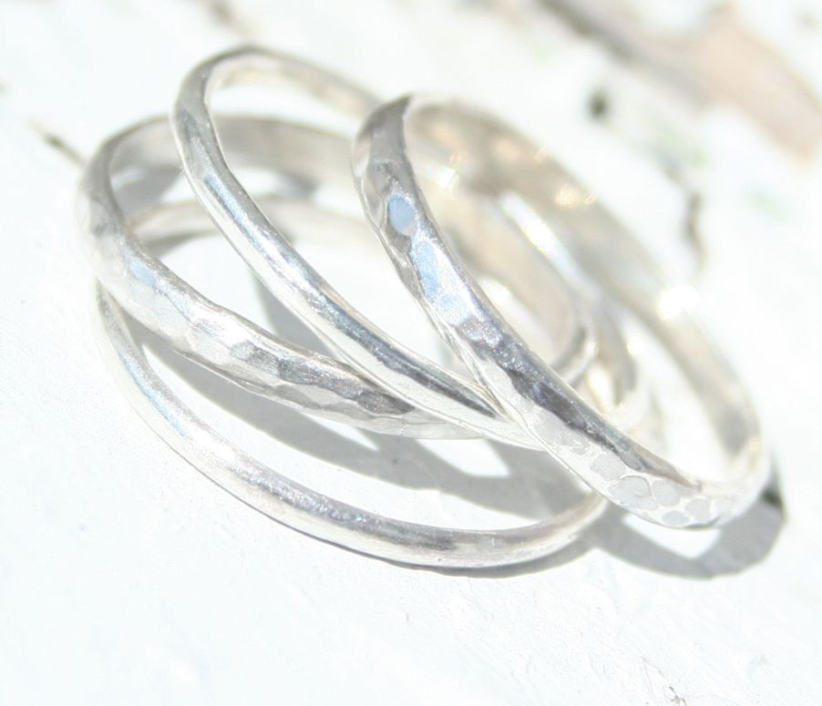 Hammered Finished Stackable Sterling Silver Rings- 4