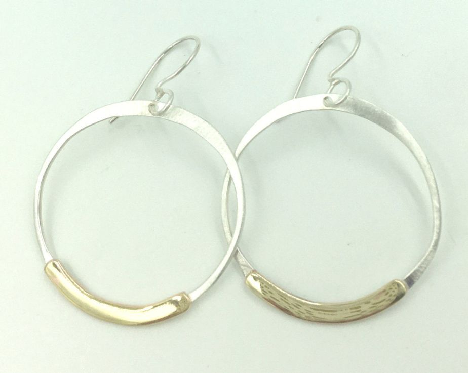 Brass Accented Sterling Silver Hoop Earrings