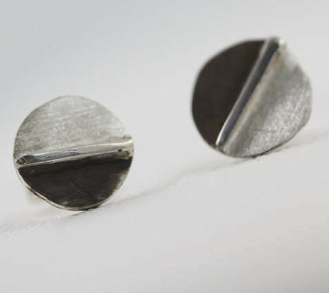 Blackened and Silver Halves Sterling Silver Earrings