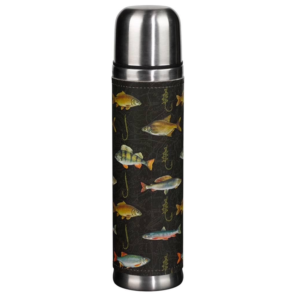 Fish Print Flask, Black